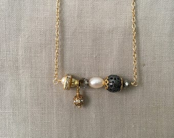 Pearl and Vintage Crystal Bar Necklace