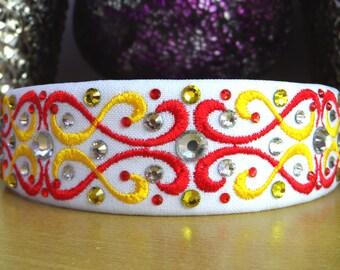 Irish Dancing 3.5cm White/Red/Yellow Headband Swarovski Crystals
