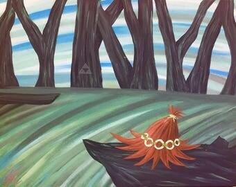 Legend of Zelda Skull Kid Hat Fan Art Painting on Canvas