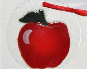 "Sale! Apple Suncatcher Ornament fused glass 4.5"" diameter"