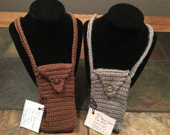 Crochet Flip Phone & Cell Phone Hands-Free Carrier- doubles as a small purse!