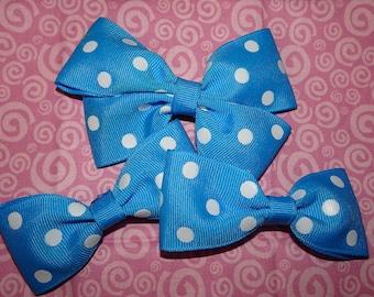 Blue Polka Dot Hair Bows, Blue Hair Bow, Toddler Bow, Girls Hair Bow, Girls Bows, Hair Bows, Hair Clips