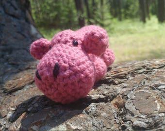 Pink Crocheted Amigurumi Hippo