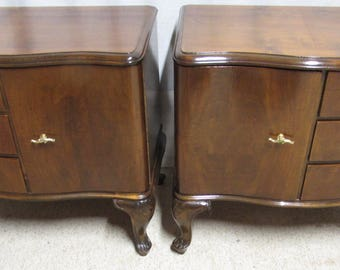 Antique Pair Italian Walnut Bedside Cabinets or Cupboards for Bedroom