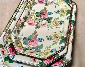 Vintage Romantic Trio Roses Trays Tray - Made in Japan Retro