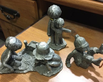 "Qty of 3 Vintage Rare Hudson Pewter Walli Ortman Children Rare Figurines ""Estate Find"""