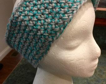 "Handmade Adults Crocheted Jogger Headband or Winter Ear Cover ""Aqua and Gray"""