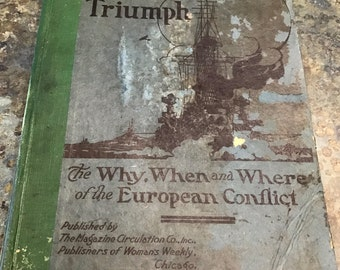 """1919 Freedom's Triumph Rare Hardback """"The Why When and Where of the European Conflict"""