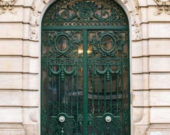 Paris Photography, Ornate Green Door Photograph, Paris Architecture, French Wall Decor - 16x20 Inch Print Sale
