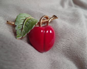 1960's Enameled Cherry Brooch