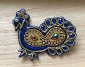Handmade Blue Indian Peacock Applique 80mm