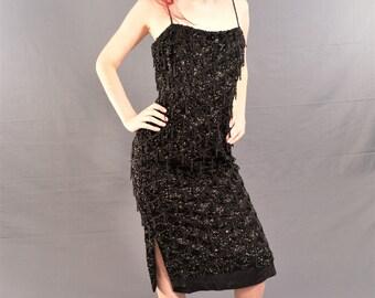 Immaculate! 1950's Black BEADED FRINGE Dress / Marilyn Monroe WIGGLE Dress / size 4