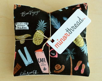 Modern Organic Lavender Sachet Set in Bon Voyage Motif in Black Handmade Hostess Gift - 2 Sachets Natural Home