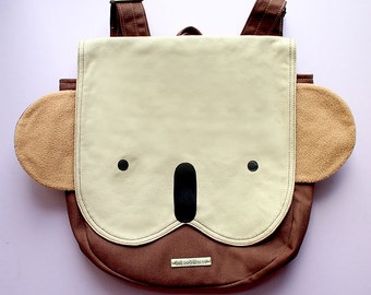 KOALA Backpack, Koala Bag, Wombat Bag, Petite Harajuku Ladies Backpack, Kids Backpack, Small Backpack, Cosplay Backpack, BEIGE BROWN Koala