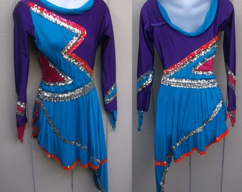 Handmade Sequin Color Block Purple Pink & Blue Dance Ice Skating - Figure Skating Costume Dress