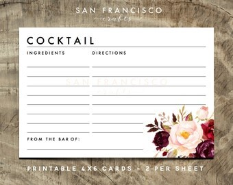 cocktail recipe card printable recipe cards bridal shower couples shower instant download