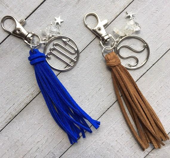 "Zodiac Keychain, Tassel Keychain, Zipper Pull, Handbag Tassel, Tassel Purse Charm - 3.5"" Small Tassel Vegan Leather - Birthday Gift"