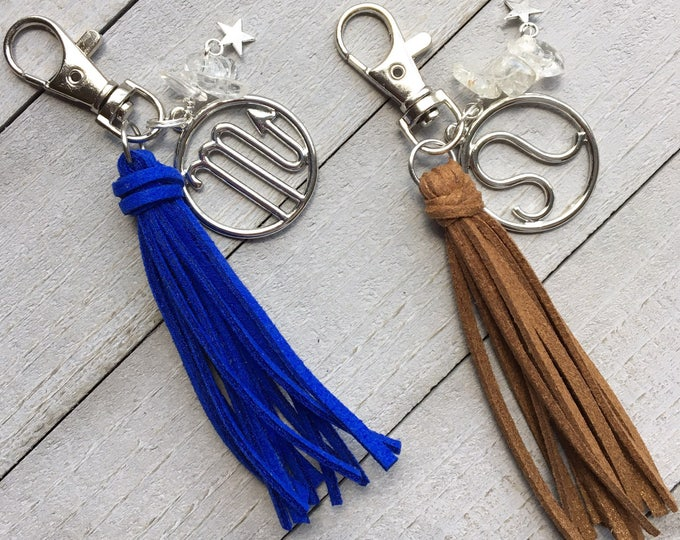 "Featured listing image: Zodiac Keychain, Tassel Keychain, Zipper Pull, Bag Tassel, Handbag Tassel, Tassel Purse Charm - 3.5"" Small Tassel Vegan Leather + Charm"