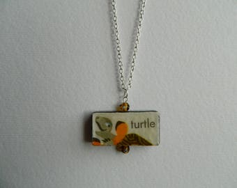 Adorable Vintage Turtle Domino Pendant from Alphabet Book
