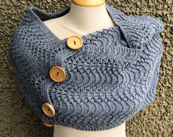 Fan and Feather Grey Mega Cowl with Buttons