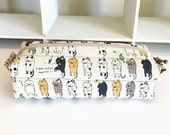 Long box pouch -Cats on clothesline