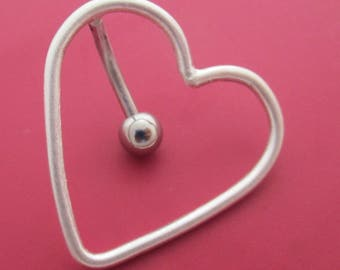 Top Down Heart Belly Button Ring