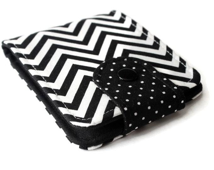 Womens BiFold Wallet / Thin Minimalist BillFold / Black and White Cotton Zig Zag