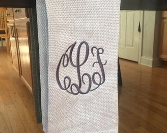 Monogrammed Diamond Gray 100% Cotton Dish Towel Home Farmhouse Modern Soft Kitchen Shower Wedding Gift