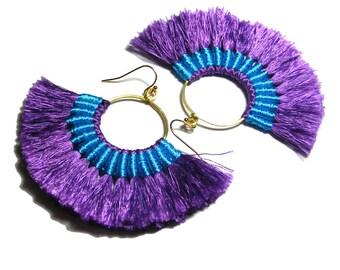 Fan Tassel Hoop Earrings, Boho Tassel Earrings, Fan Hoop Earrings, Purple Earrings, Purple Blue, Fan Tassel Jewelry, Hoop Earrings, Bohemian