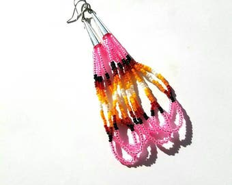 Pink Seed Bead Dangle Earrings