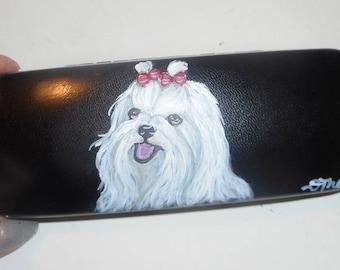 Maltese Dog  Hand Painted Eyeglass Case Vegan