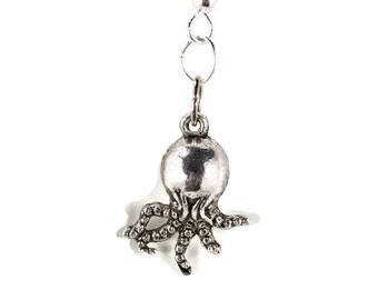 Silver Small Octopus Earrings