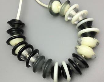 Handmade Lampwork Saturn Beads Black, Gray and White