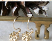 Cyber Monday Sale Gold Snowflake Earrings - Snowflake Earrings - Gold Filled Earwires - Winter Fashion - Holiday Jewelry