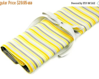 Sale Large Knitting Needle Case Organizer - Yellow Matters - 30 gray pockets for circular, straight, dpn, or paint brushes