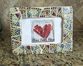 mosaic picture frame - broken china - 4 x 6 picture frame - southwestern pattern - recycled dishes - recycled china