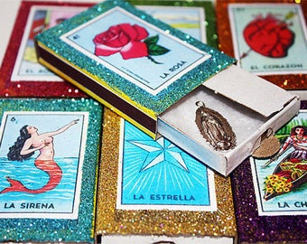 Mexican Milagro Wedding Favors Loteria Matchboxes with Milagros - Set of 50