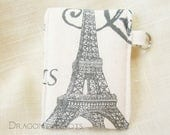 Eiffel Tower Mini Essentials Pouch - Paris France ID or credit card and lip balm holder, insulated lipstick case, ecru French cottage chic