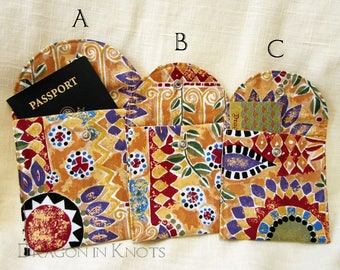 Accessory Pouch with Metal Snap (Choose Size) - harvest gold mosaic floral fabric case for passport, computer mouse, or other small items