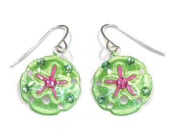 Sand Dollar Earrings Handpainted in Green and Pink