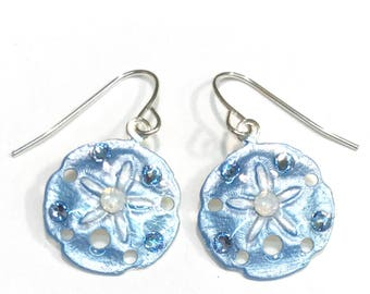 Sand Dollar  Earrings Handpainted in Light Blue and White - Beach Jewelry - Coastal Jewelry