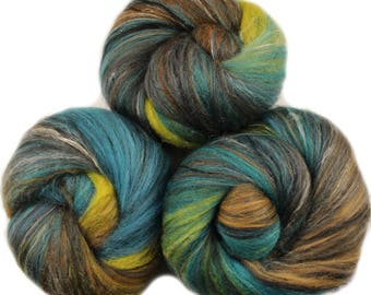 Lagoon -- classic batts -- (4 oz.) organic polwarth wool, bamboo, silk, sparkle.