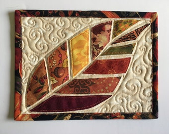 Quilted Mug Rug, Snack mat, Applique, large coaster, Fall Leaf, Scrappy Patchwork, Candle Mat, Mouse Pad, Mini Quilt, Brown Fabric