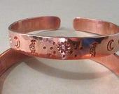 Hand Stamped Hammered Copper Bangle Cuff Bracelet - Kokopelli Bracelet - Southwest Copper Story Bracelet - Kokopelli, Sun, Moon, Stars