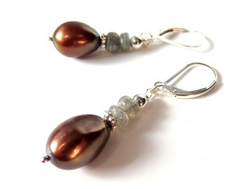 Rainbow Pearl Earrings, Labradorite  and Sterling Silver, Oval Pearls, Dainty Freshwater Pearl Jewelry, Lever Back Ear Wires, Pearl Gift