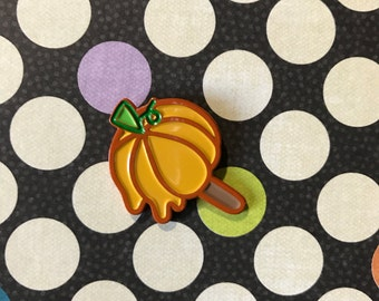 Orange ice pop pumpkin enamel pin