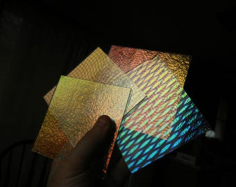 4 - 4 x 4 90 COE Dichroic Glass Clear Thin Iridescent Patterned Variety Pack