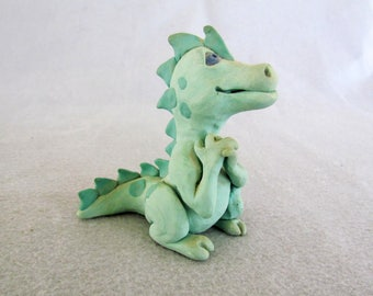 Green Spotted Dragon made of Clay