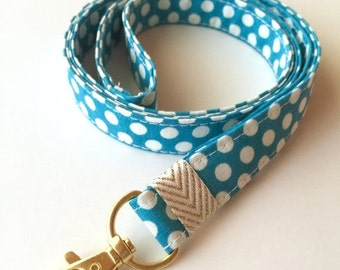 SALE - Polka dot lanyard, turquoise dot lanyard, turquoise badge holder, polka dot badge holder, neck lanyard