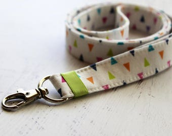 Triangles print lanyard - colorful lanyard - palm springs - lobster clasp lanyard - ID holder lanyard - key holder - key fob - key lanyard